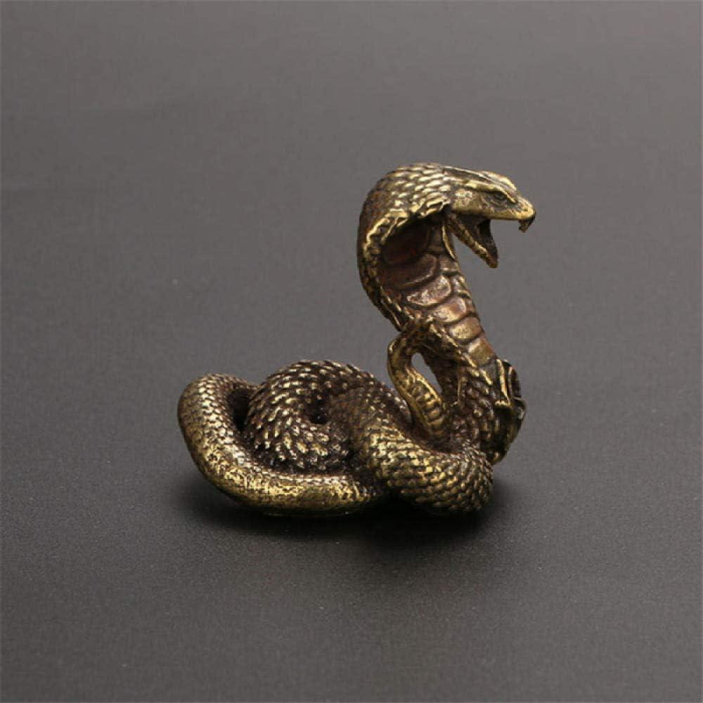 GSDGSD Estatua de Cobra de Bronce Antigua, Adorno de Serpiente del Zodiaco, Figuras en Miniatura, decoración de Escritorio de Cobre, Accesorios de decoración para Mascotas, artesanía