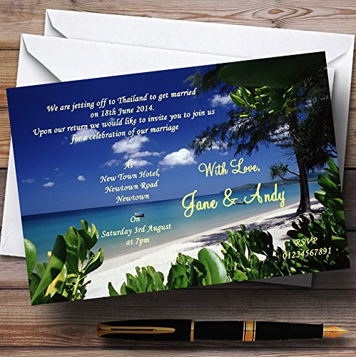 Thailand Beach Palm Tree Personalized Wedding Invitations