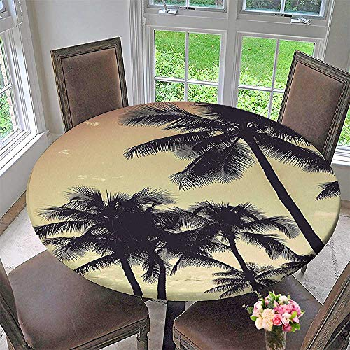 Mikihome Luxury Round Table Cloth for Home use Collection Ocean Beach Sunset Sepia Tones Print Accessories for Buffet Table, Holiday Dinner 50