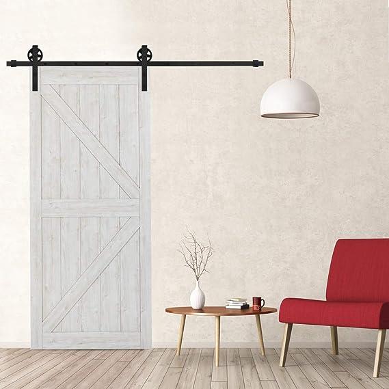 Hahaemall 5FT / 1.5m Colgador de metal montado en la pared de la vendimia Rolling Single Sliding Door Door Hardware Track Juego de rodillos de riel negro: Amazon.es: Bricolaje y herramientas