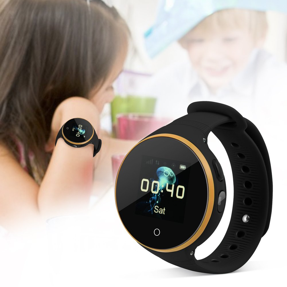 Child Smart Watch Kids SOS Watch Kids Locator Watch - 1.22'' High-Definition True-Color IPS Round Screen - 5-Positioning Mode: GPS+AGPS+LBS+Camera+G-Sensor - Two-Way Calling,SOS Emergency Call(Black) by Bewinner (Image #2)