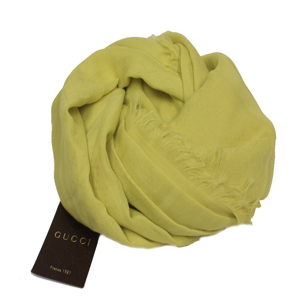 Gucci Women's Fringe Yellow Cotton GG Guccissima Scarf 371482