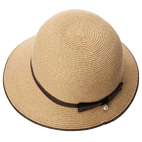 SIGGI Womens Foldable Beach Straw Summer Sun Hats Pearl Decoration UPF -