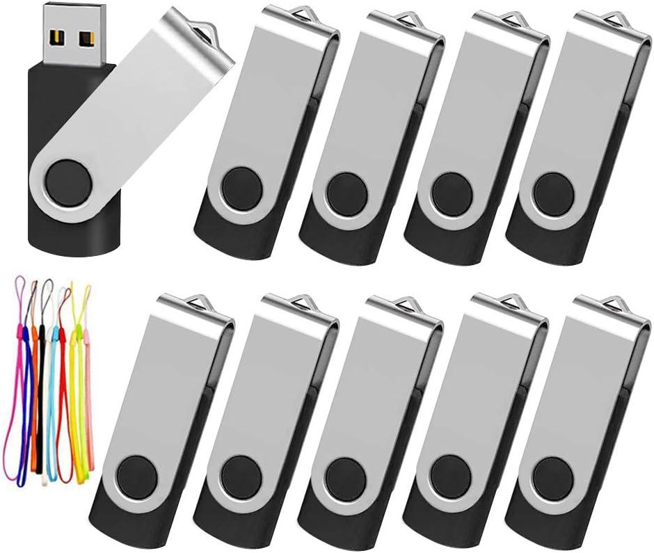 Kootion 10 Pack 4GB Flash Drive 4gb USB 2.0 Flash Drives Keychain USB Drive Bulk Thumb Drive Swivel Memory Stick Black