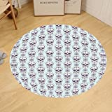 Gzhihine Custom round floor mat Skulls Decorations Flowers and Skulls Day Catholic Ceremony Artistic Design Art Bedroom Living Room Dorm