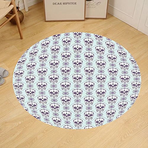 Gzhihine Custom round floor mat Skulls Decorations Flowers and Skulls Day Catholic Ceremony Artistic Design Art Bedroom Living Room Dorm by Gzhihine