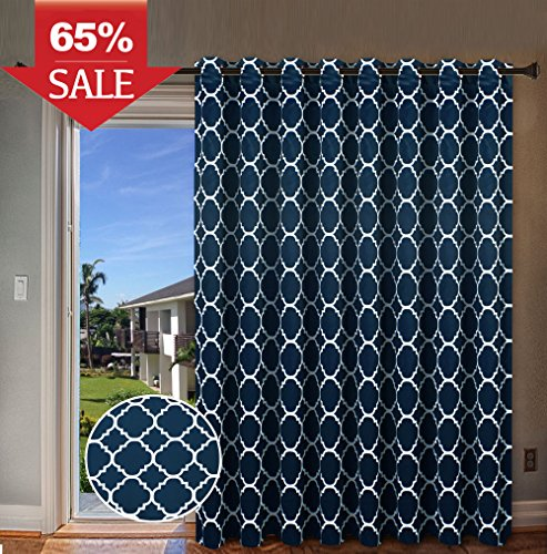 H.Versailtex Wide Width Thermal Insulated Blackout Curtain - Antique Bronze Grommet Top - Moroccan Tile Quatrefoil Pattern in Navy - 100