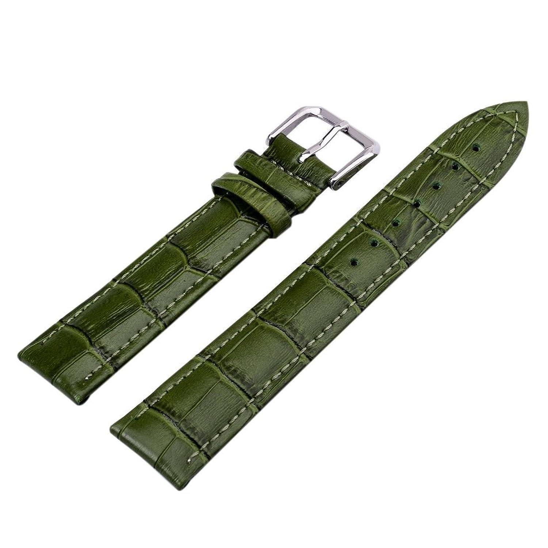 グリーンユニセックス7色本革Alligator Crocodile Grain時計ストラップバンド22 mm  B01IIC2KN6