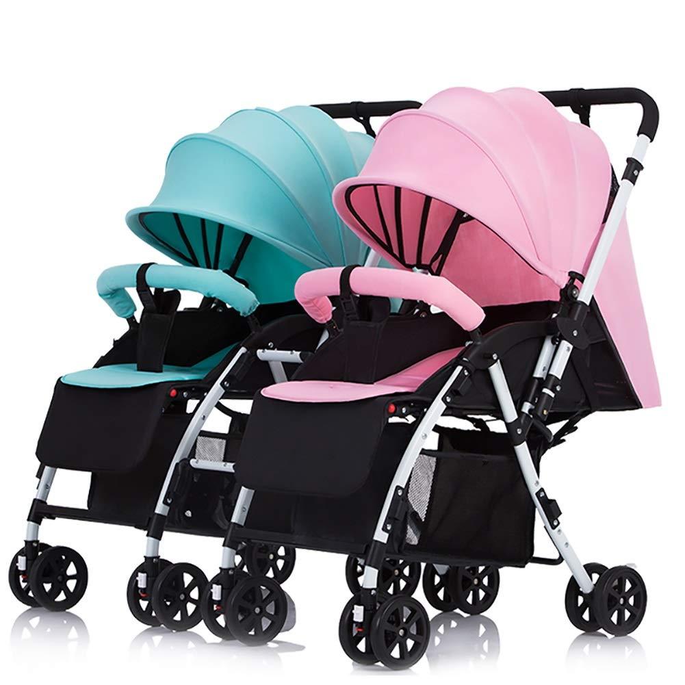 Lll- ツインベビーベビーカー着脱式ハンドル可逆式幼児用キャリッジは軽量折り畳みダブルトロリーに座って横になることができます (色 : Mint green+pink)  Mint green+pink B07QM6NJS5
