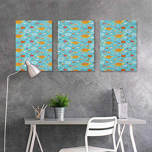 HOMEDD Abstract Oil Paintings Sticker,Tea Party Drawing Style Lovely Elements Floral Motifs and Cute Birds Muffins Latte,Modern Decorative Artwork 3 Panels,16x24inchx3pcs Sky Blue Multicolor]()