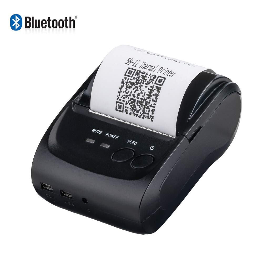 MUNBYN Wireless Bluetooth Receipt Thermal Printer 58mm Portable Personal Bill Printer Compatible with Android iOS Windows for Small Business ...