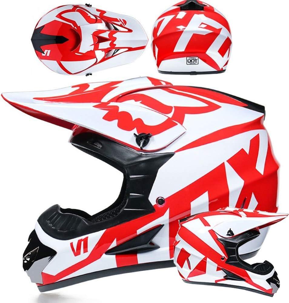 Lot De 4 Capuche Et Gants Bleu Clair, S MIBDF Casque Enfant Casque De Motocross Adulte Haute Vitesse Casque De Motocross avec Lunettes
