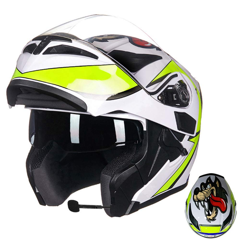 MJW Bluetooth Integrated Modular Flip Up Full Face Motorcycle Helmet Sun Shield Mp3 Intercom