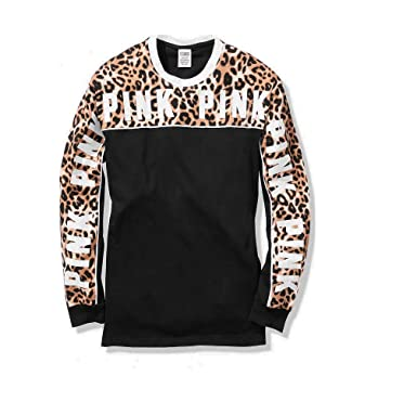 880bc1a4e0820 Victoria's Secret Pink Long Sleeve Campus TEE with Leopard Prints ...