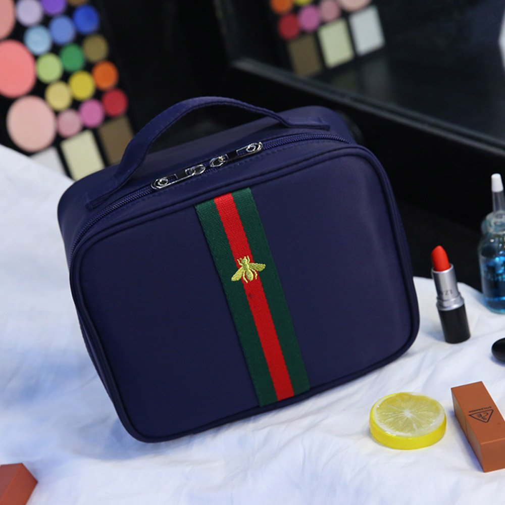 Portable Travel Makeup Bag / Multifunctional Travel Toiletry Bag Cosmetic Makeup Pouch, Embroidery style Double Zipper Waterproof Cosmetic Makeup Bag Organizer (Navy Blue) LayYun