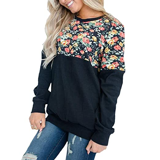 5485e643613a Image Unavailable. Image not available for. Color: OrchidAmor Fashion Women  O-Neck Long Sleeve Floral Print Patchwork T-Shirt Tops Pineapple