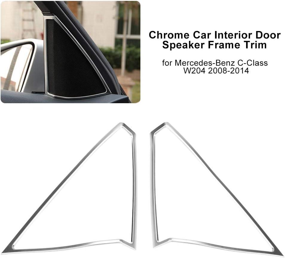 Door Speaker Cover Chrome Car Interior Door Speaker Frame Trim for Mercedes-Benz C-Class W204 2008-2014