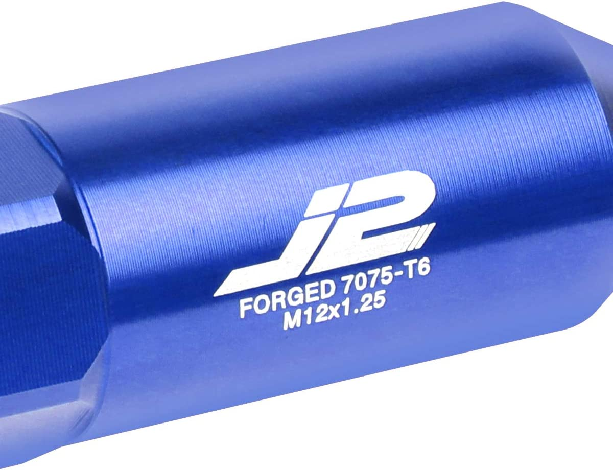 J2 Engineering LN-T7-017-125-BL Blue 20Pcs M12 x 1.25 7075-T6 Aluminum 90mm Spiked End Lug Nut w//Socket Adapter