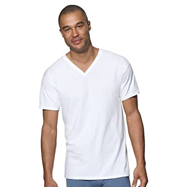 98bc496d Hanes Men's Cotton Nano V-Neck T-Shirt, White (6-Pack), 3XL at ...