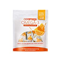 Coromega Omega 3 Fish Oil Supplement, 650mg of Omega-3s with 3X Better Absorption Than Softgels, Orange Flavor, 120 Single Serve Squeeze Packets