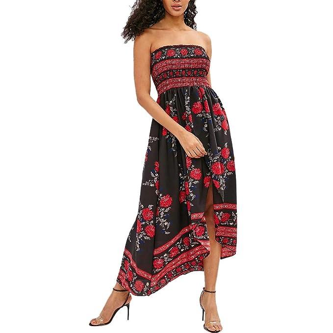 14943764e82 Women Elegant Dress Off Shoulder Boho Flowy Floral Long Maxi Evening Party  Sundress (M