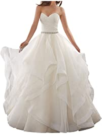 Amazing APXPF Womenu0027s Organza Ruffles Ball Gown Wedding Dresses Bride Dress