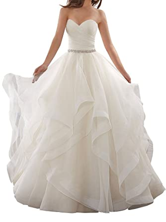 APXPF Womenu0027s Organza Ruffles Ball Gown Wedding Dresses Bride Dress At  Amazon Womenu0027s Clothing Store: