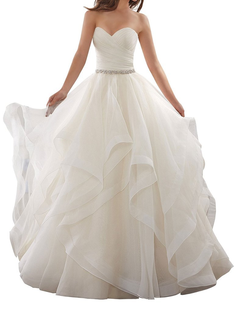 APXPF Women's Organza Ruffles Ball Gown Wedding Dresses Bride Dress White US2 by APXPF (Image #1)