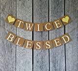 FOZEE Twice Blessed Banner, Twins Banners, Twins Baby Shower Decorations