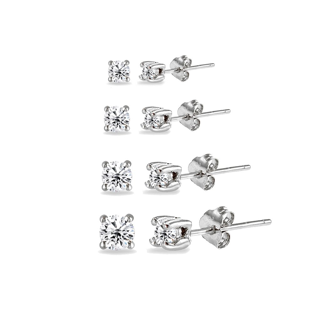 4 Pair Set Sterling Silver Cubic Zirconia Round Stud Earrings, 2mm 3mm 4mm 5mm by GemStar USA