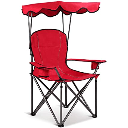 464625e7eb Amazon.com : Red Folding Beach Canopy Chair Fishing Camping Chair ...