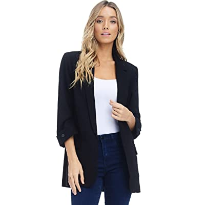 Alexander + David Women's Open Front Blazer Jacket Suit, Loose Fit ¾ Sleeve Woven Work Blazer with Pockets at Amazon Women's Clothing store