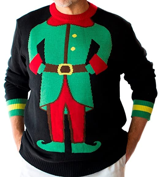Mens Elf Ugly Christmas Sweater At Amazon Mens Clothing Store