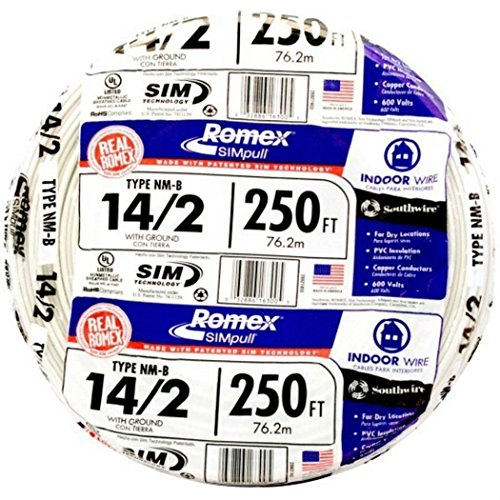 Nmb Wire - Romex 250' Roll 14-2 AWG Guage NM-B Indoor Electrical Copper Wire Cable w Ground