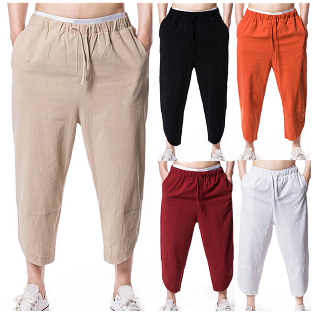 3f1b99a778d2 ❊Material Linen♥♥Men s casual harem training jogger sport short baggy pants  men s classic fit workday khaki smart flex pants mens seniors solid loose  fit ...