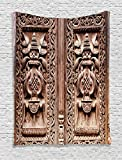 Rustic Decor Tapestry by Ambesonne, Wooden Carved Door Detail Kathmandu Indian Mystic Artful Sculpture Cultural Facade Image Decor, Wall Hanging for Bedroom Living Room Dorm, 60 X 80Inches, Brown
