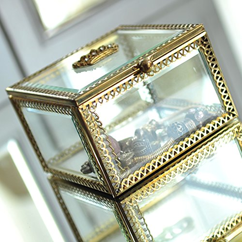 Hersoo Vintage Home Decorative Box Jewelry Chest Organizer Clear Glass Mirrored Shadow Showcase/Vanity Storage Display for Ring/Bathroom Accessories/Necklace/Pearl