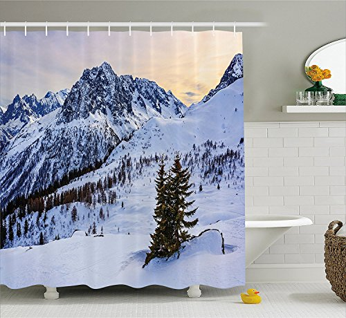 [Farmhouse Decor Shower Curtain Landscape of Snowy Mountain at Sunset Pine Trees Tranquil in Winter Theme Fabric Bathroom Decor Set with Hooks White] (The Pope Costume At The White House)