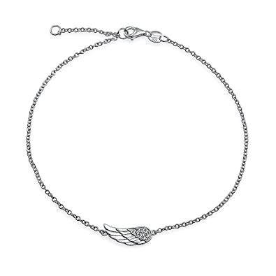 cz sterling az pfs bling wing ankle anklet rh angel silver feather jewelry bracelet