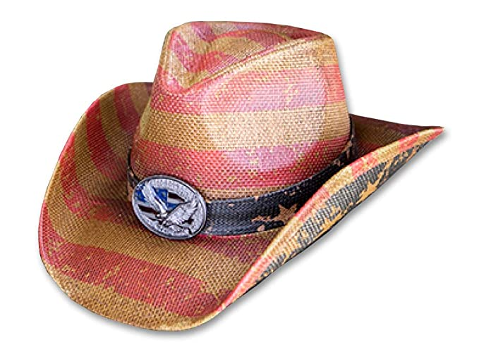 dee4bc5a Men's Vintage Tea-Stained USA American Flag Cowboy Hat w/ Western Shape-It  Brim