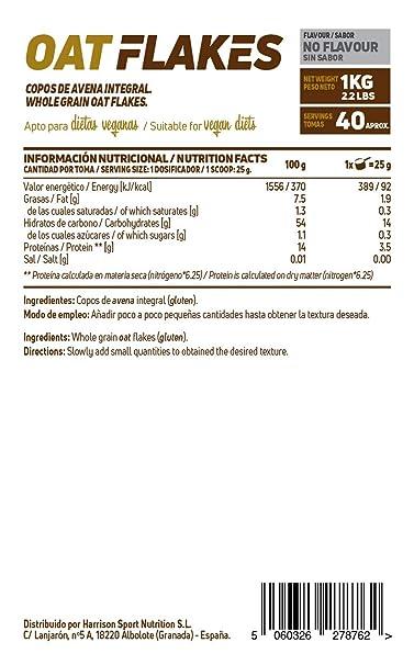 Copos de Avena Integrales de HSN Foods | Oat Flakes | Cereal con Proteínas, Carbohidratos de Lenta Digestión y Ácidos Grasos Esenciales | Aporte de Fibra ...