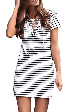 Vestidos Verano Mujer Elegante Manga Corta V Cuello Con Cordones Vestido De Camisa Mini Vestido Moda Joven Fashion Tendencia Basic Niña Vestidos Camiseros Vestidos Party Vestido Camisero Ropa: Amazon.es: Ropa y accesorios