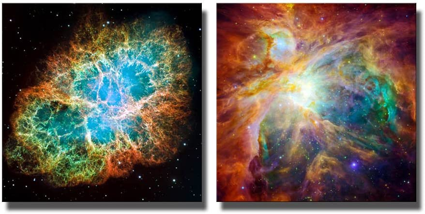 Canvas Prints Wall Art - The Cosmic Cloud Orion Nebula and Crab Nebula | Modern Wall Decor/Home Decoration Stretched Gallery Canvas Wrap Giclee Print & Ready to Hang - 24
