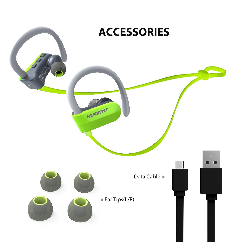 nenrent Q12 Auriculares Bluetooth, Wireless Bluetooth V4.1 Manos libres estéreo auriculares deporte con micrófono llamadas auriculares auriculares con ...