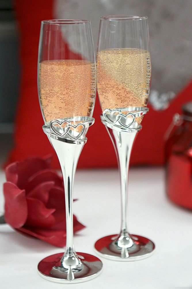 Casablanca Design Champagne Glass Set of 2 Hearts Design