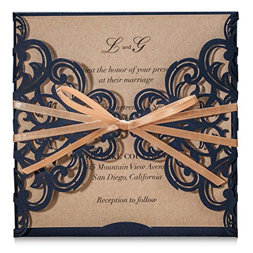 Wishmade Navy Blue Rustic Square Laser Cut Wedding Invitations Cards with Bow Lace Sleeve Cards for Engagement Baby Shower Birthday Quinceanera (pack of ()