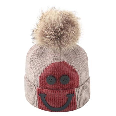 Malloom Sombreros de bebé Gorros de punto gorro de invierno para Sombrero de lana de pelo