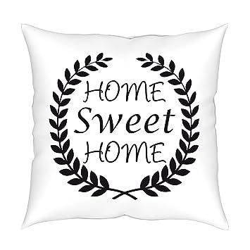 MyBUBO Home Sweet Home Dekokissen Kissenhülle/Kissenbezug, Schwarz Weiss  Kissen Zierkissen 45x45cm Weiss/