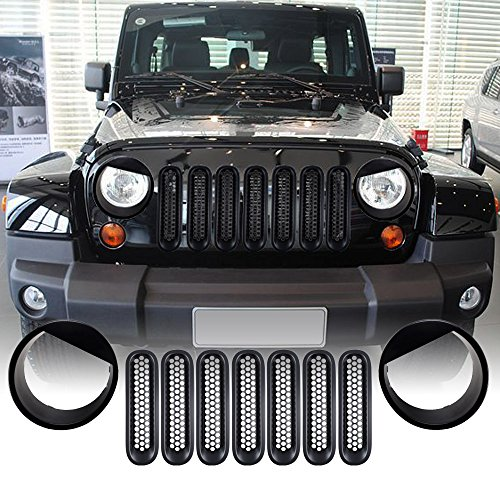 Angry Eye Headlight Bezels Fit 2007-2018 Jeep Wrangler JK Astra Depot SET Mesh Front Grille Guard Insert