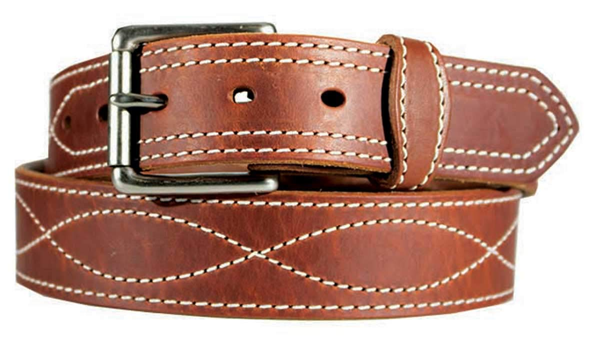 Men's Harness Leather Work Belt 1 1/2'' w/Decorative figure 8 stitching. Brown, Size 54